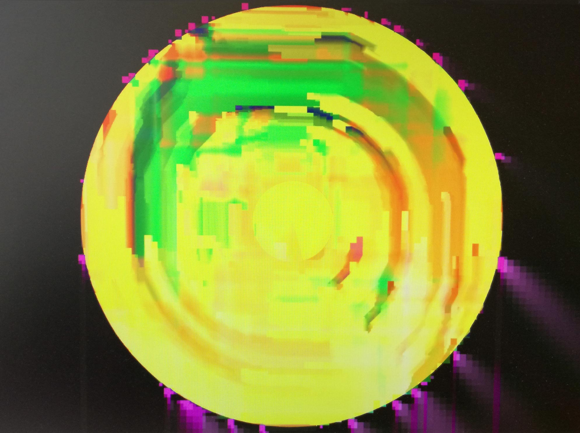 glitch narra jaune-vert